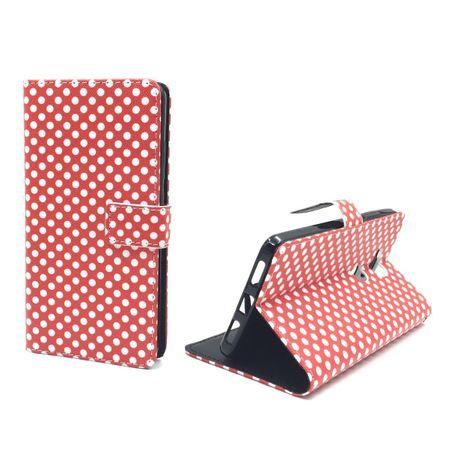 Handyhülle Tasche + 1 Panzer Schutz Glas für Handy Huawei Honor 5X Polka Dot Rot