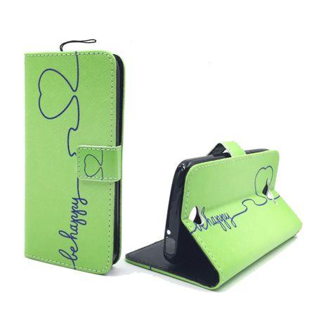 Handyhülle Tasche + 1 Panzer Schutz Glas für Handy ZTE Blade L3 Be Happy Grün