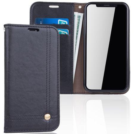 Handy Hülle Schutz Tasche für Apple iPhone XS Cover Wallet Etui Schwarz