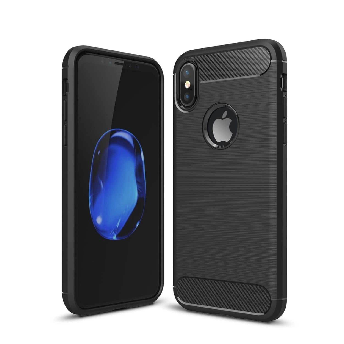 Apple iPhone XS Cover TPU Case Silikon Schutz-Hülle Handy Bumper Carbon Optik Schwarz