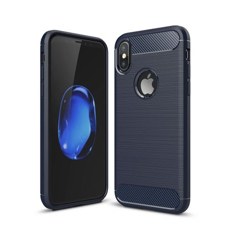 Apple iPhone XS Cover TPU Case Silikon Schutz-Hülle Handy Bumper Carbon Optik Blau
