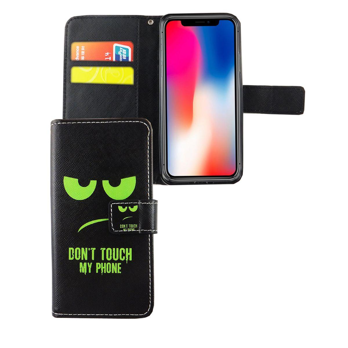 Handyhülle Tasche für Handy Apple iPhone XS Dont Touch My Phone Grün