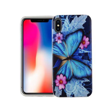 Handy Hülle für Apple iPhone XS Cover Case Schutz Tasche Motiv Slim Silikon TPU Blauer Schmetterling