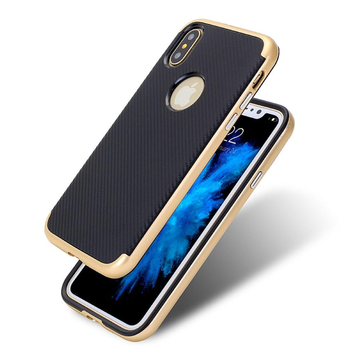 Hybrid Silikon Handy Hülle für Apple iPhone XS Case Cover Tasche Gold