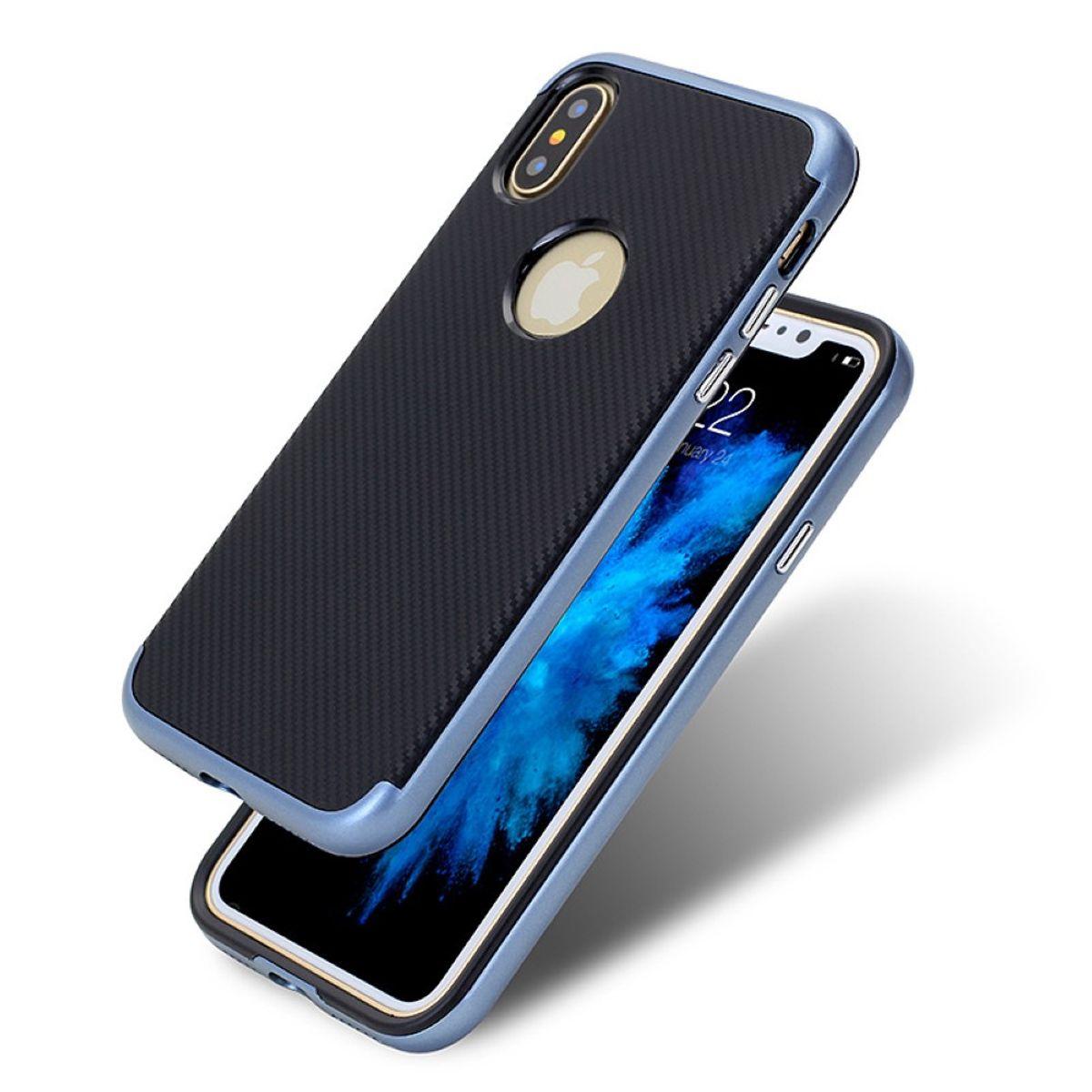Hybrid Silikon Handy Hülle für Apple iPhone XS Case Cover Tasche Blau