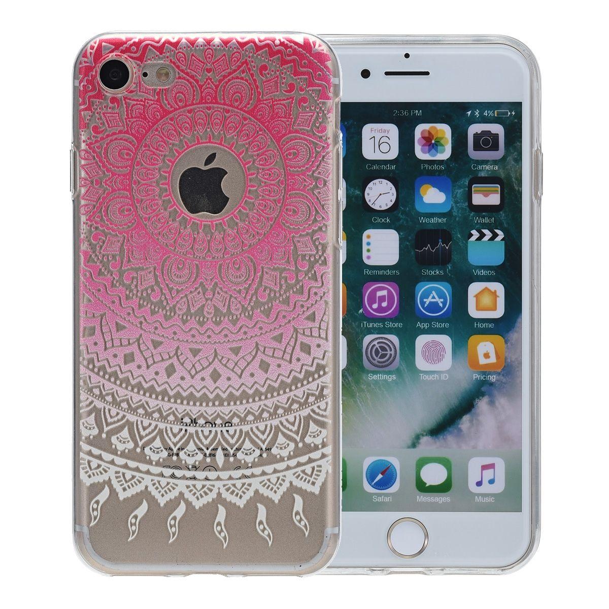 Henna Cover für Apple iPhone XS Case Schutz Hülle Silikon Sonne Pink