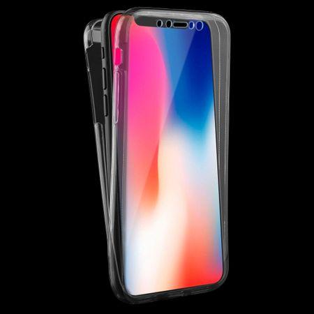Crystal Case Hülle für Apple iPhone XS Grau Rahmen Full Body