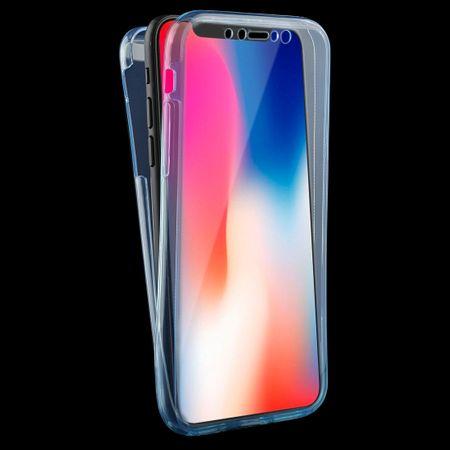 Crystal Case Hülle für Apple iPhone XS Blau Rahmen Full Body