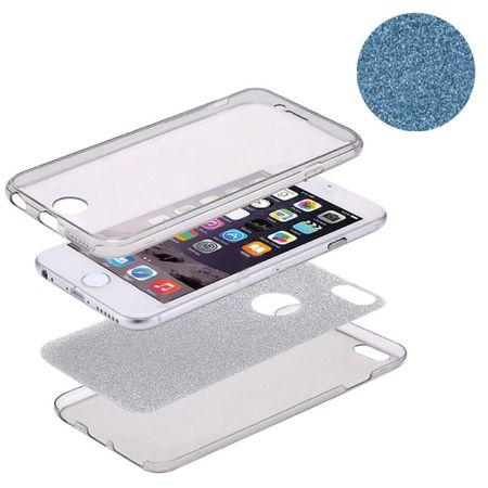 Crystal Case Hülle für Apple iPhone XS Glitzer Case Blau Full Body