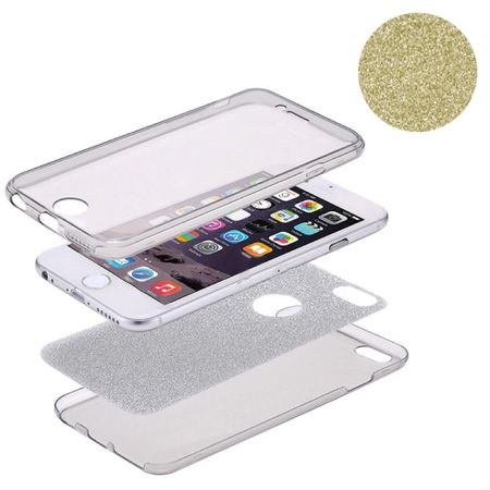 Crystal Case Hülle für Apple iPhone XS Glitzer Case Gold Full Body