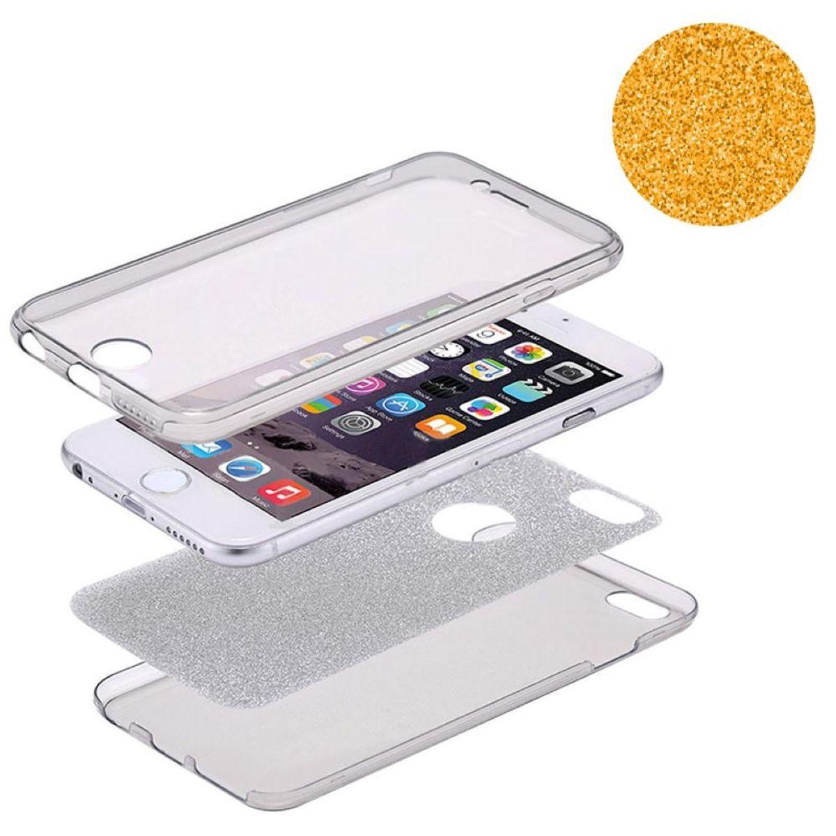 Crystal Case Hülle für Apple iPhone XS Glitzer Case Orange Full Body