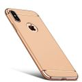 Handy Hülle Schutz Case für Apple iPhone XS Bumper 3 in 1 Cover Chrom Etui Gold 001