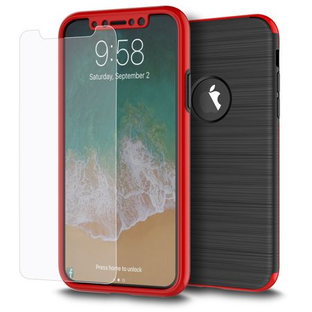 Apple iPhone XS 2 in 1 Handyhülle 360 Grad Full Cover Case Rot