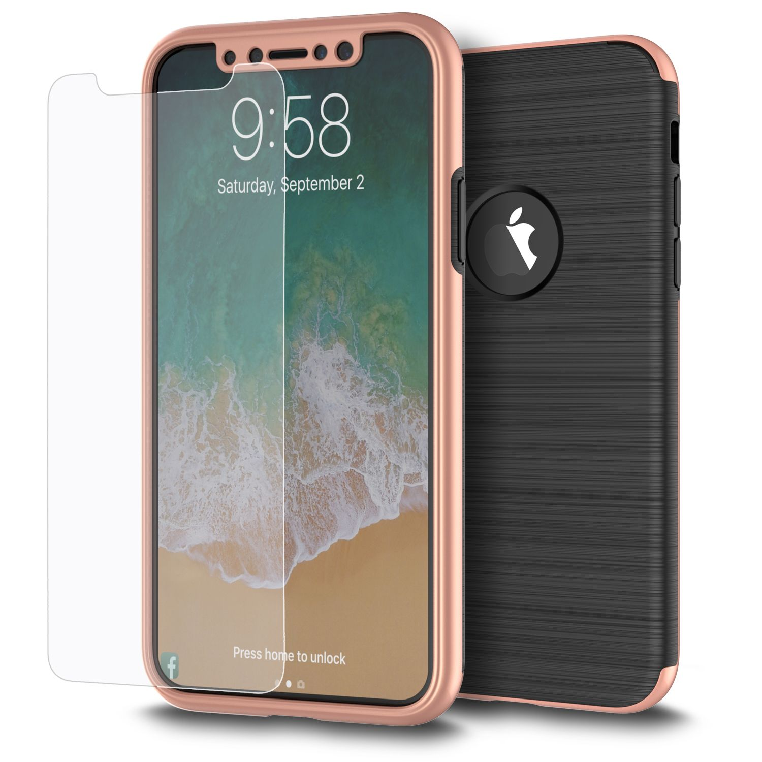 Apple iPhone XS 2 in 1 Handyhülle 360 Grad Full Cover Case Pink