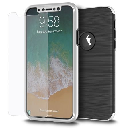 Apple iPhone XS 2 in 1 Handyhülle 360 Grad Full Cover Case Silber