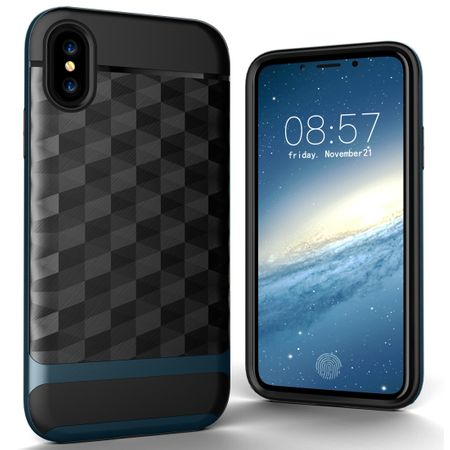 Hülle für Apple iPhone XS Backcover Case Handy Schutzhülle - Cover 3D Prisma Design Navy Blau