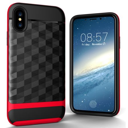 Hülle für Apple iPhone XS Backcover Case Handy Schutzhülle - Cover 3D Prisma Design Rot