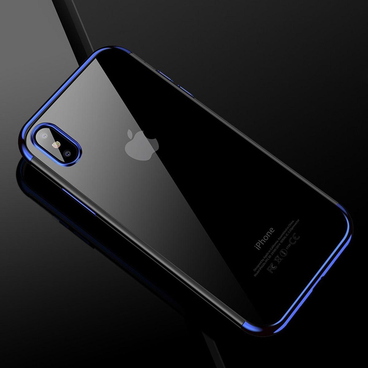 Handy Hülle Schutz Case für Apple iPhone XS Durchsichtig Transparent Blau
