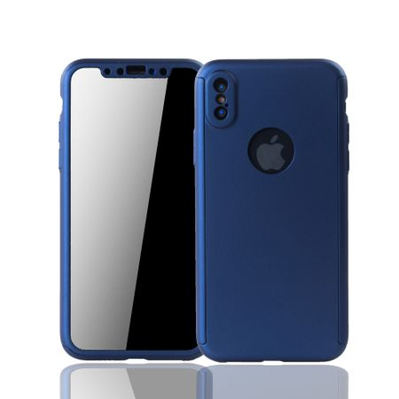 Apple iPhone XS Handy-Hülle Schutz-Case Full-Cover Panzer Schutz Glas Blau