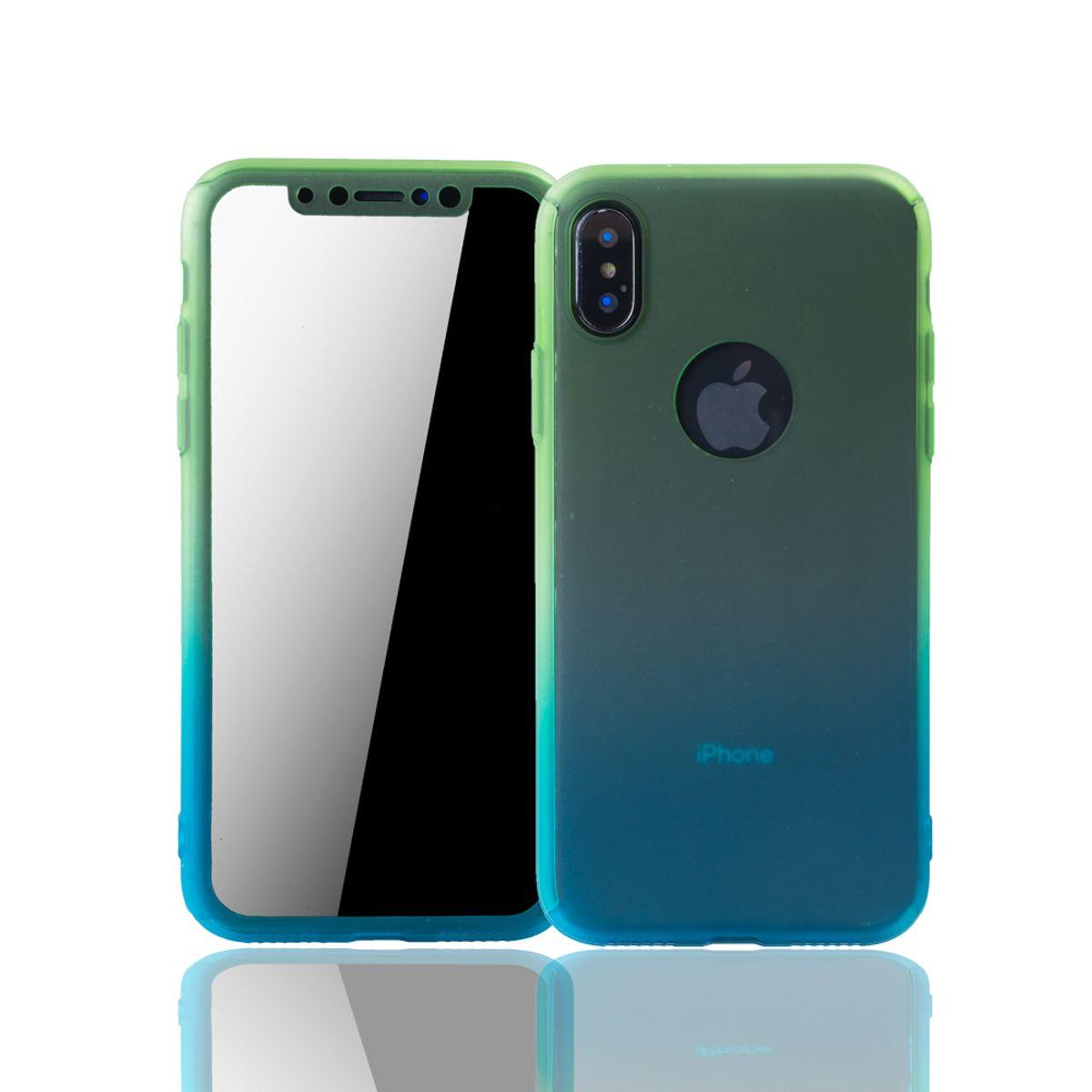 Apple iPhone XS Handy Hülle Schutz-Case Full-Cover Panzer Schutz Glas Grün / Blau