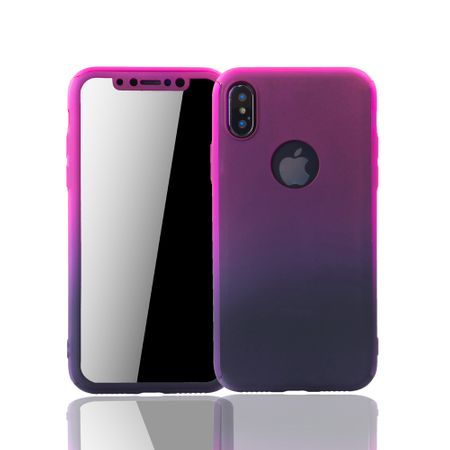 Apple iPhone XS Handy-Hülle Schutz-Case Cover Panzer Schutz Glas Pink / Violett