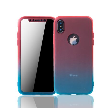 Apple iPhone XS Handy-Hülle Schutz-Case Full-Cover Panzer Schutz Glas Rot / Blau