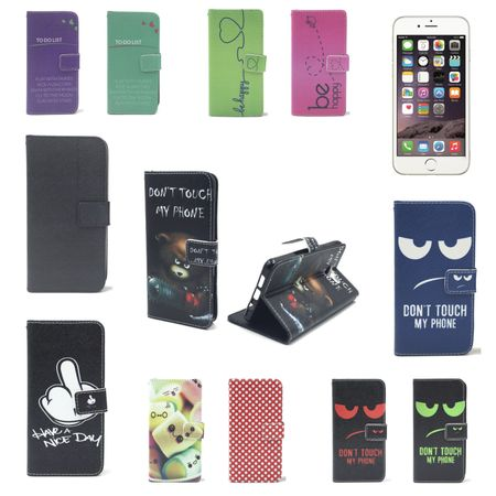 Handy Tasche für Apple iPhone 6 / 6s Plus Flip Cover Case Schutz Hülle Etui Motiv Wallet