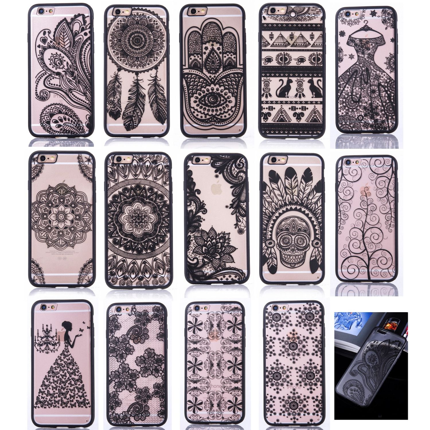 low priced 7b643 868b2 Details about Henna Cover Cell Phone Sleeve Case Cover Bumper Bag Indian  Sun Mandala