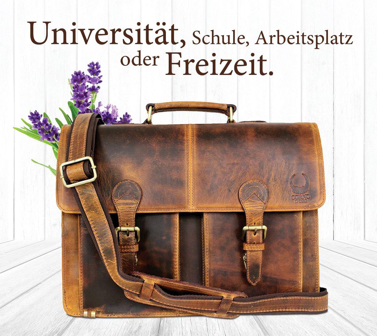 Leder Aktentasche Damen & Herren - Laptoptasche 15.6 Zoll Laptop