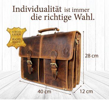 Herren Aktentasche Leder Schultertasche Umhängetasche Laptoptasche 15.6 CD09A