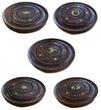 Räucherstäbchenhalter / Räucherteller rund Holz mit Messingeinlagen 1Stk., Indien