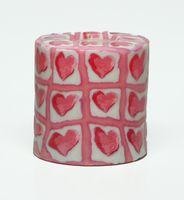 Swazi Kerze Pink Hearts rund 001