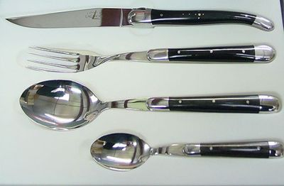Forge de Laguiole Cutlery Set 4-pieces Black Horn INOX