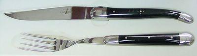 Forge de Laguiole  Set 1 Tafelmesser & 1 Tafelgabel Horn sw 2 Mitres