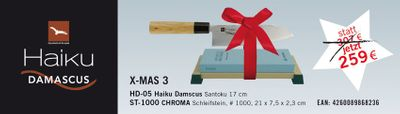 AKTION HAIKU SANTOKU Damast HD 05 + Schleifstein Chroma ST 1000