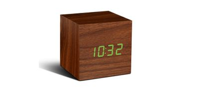 Cube Walnuss Click Clock LED grün – Bild 1