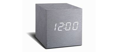 Cube Aluminium-Look Click Clock LED weiss
