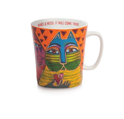 Laurel Burch - Becher Tasse -  FANTASTIC FELINES - MAKE A WISH, IT WILL COME TRUE