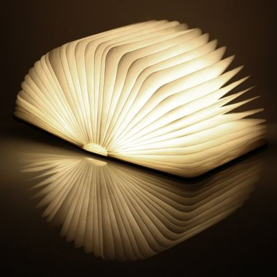 ginkgo Mini Book Light Walnuss, warmes Licht – Bild 1