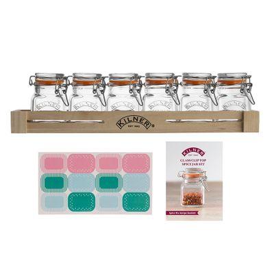 KILNER 6 Gewürzglaser mit Bügelverschluss im Holzkasten Set – Bild 1