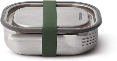black + blum Edelstahl Lunchbox groß 1000 ml, olive, mit stufenlos verschiebaren Edelstahlteiler – Bild 1