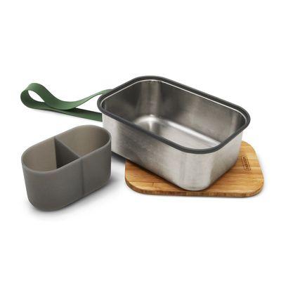 black + blum Edelstahl Sandwichbox gross 1250 ml, olive – Bild 2