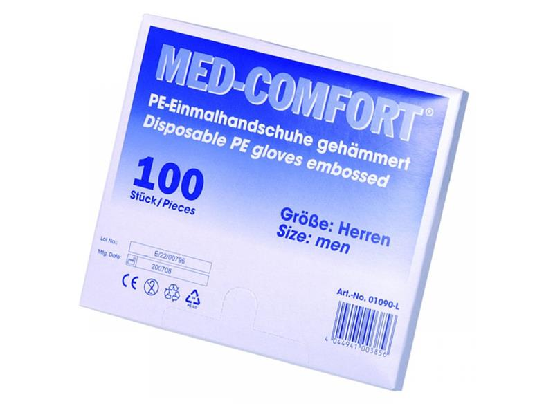 MED COMPFORT Einmalhandschuhe 100St. PE/ Kunststoff gehämmert Handschuhe Herren  – Bild $_i