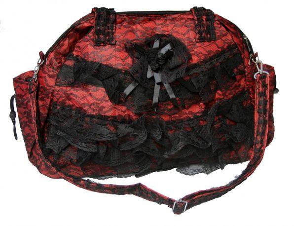 Große Viktorianische Spitzentasche schwarz-rot – Bild 1