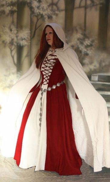 Komplette Gewandung Kleid Ermina rot weiss mit Umhang – Bild 1