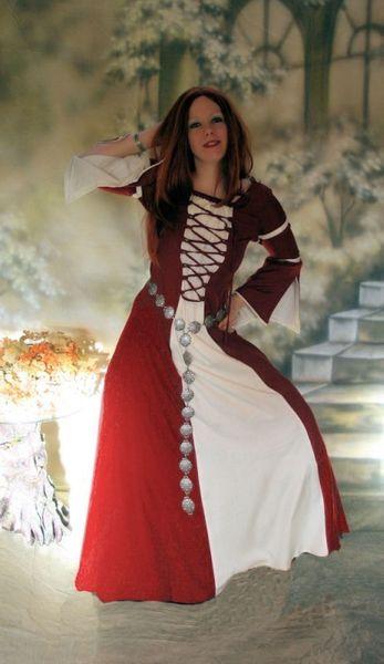 Komplette Gewandung Kleid Ermina rot weiss mit Umhang – Bild 3