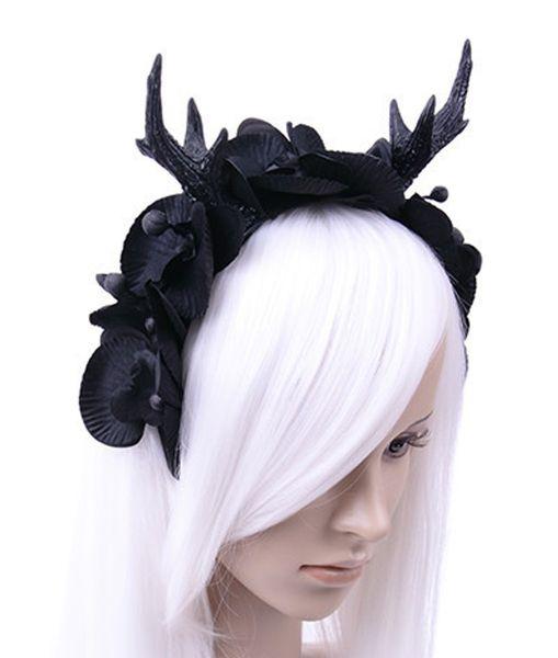 Haarband Kopfschmuck Geweih mit Rosen und Knospen – Bild 3