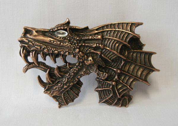 Buckle Drachenkopf altkupfer – Bild 1