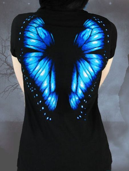 T - Shirt Blue Butterfly – Bild 4