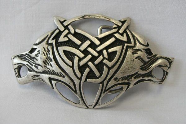 Buckle keltische Wölfe altsilber
